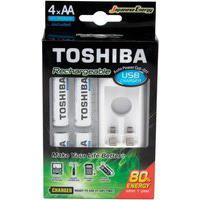 Carregador De Pilha Usb Aa/Aaa Toshiba Com 4X Pilhas Aa - 73205