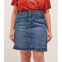 Saia Curta Jeans Com Cinto E Fivela Forrada Curve & Plus Size | Ashua Curve E Plus Size | Azul | 52