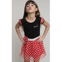 Vestido Infantil Minnie Com Tule Estampado De Poá Manga Curta Preto