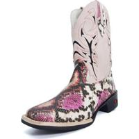 Bota Texana Couro Touro Botas Feminina - Feminino-Rosa