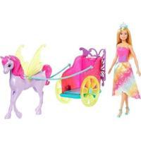 Boneca Barbie Princesa Com Carruagem Com Acessórios Mattel - Feminino-Rosa