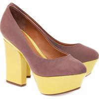 Sapato Meia Pata Liso- Rosa Escuro & Amareloschutz