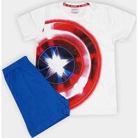 Pijama Infantil Evanilda Capitão América Malha Curto Tal Filho Masculino - Masculino-Branco+Azul