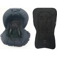 Conjunto Capa Para Bebê Conforto Com Acolchoado Extra E Capa De Carrinho Poá Preto Alan Pierre Baby