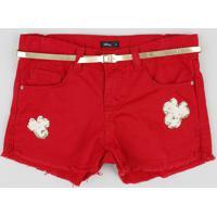 Short Color Infantil Minnie Com Paetê E Cinto Vermelho