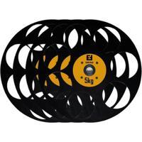 Kit Com 4 Anilhas Para Academia 5Kg - Enforce Fitness - Unissex