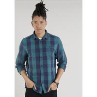 CEA  Camisa Masculina Xadrez Com Bolso Manga Longa Verde fe015bb695d