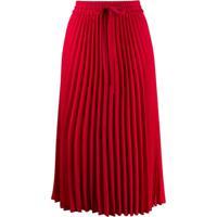 Red Valentino Red(V) Pleated Midi Skirt - Vermelho
