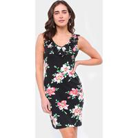 Vestido Efa Floral Babados - Feminino-Preto