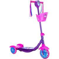 Patinete Scooter 3 Rodas Infantil Roxo De Menina Com Cestinha - Princesa Anne - Unik Toys