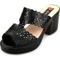 4bbdea645f Dafiti  Tamanco Love Shoes Salto Bloco Meia-Pata Vazado Preto