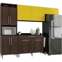 Cozinha Compacta Com Balcão Elisa Amêndoa/Amarelo - Poliman