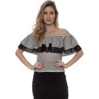 Blusa Bisô Babado Listrada Feminina - Feminino-Branco+Preto