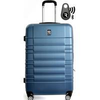 Kit Com Mala De Bordo Double Wheel E Localizador Bluetooth Reaggio - Com Rodas 360º - Santino Azul