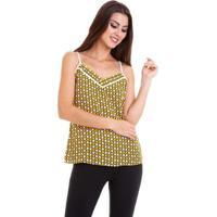 0f8233b30 Posthaus; Blusa Alcinha Crepe Chiffon Estampado Feminina - Feminino-Amarelo