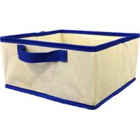 Caixa Organizadora Com Alça 28X15X28Cm Organibox Bege/Azul