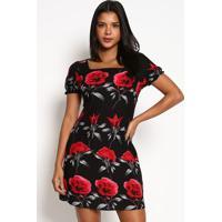 Vestido Estampa Floral- Preto & Vermelhovip Reserva