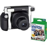 Câmera Instantânea Fujifilm Instax Wide 300 - Preta/Prata + Filme Instantâneo Fujifilm Instax Wide Pack Com 20 Unidades