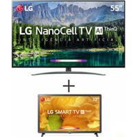 Smart Tv 4K Lg Led 55 Com Nanocell Ai E Wi-Fi - 55Sm8600Psa + Smart Tv Lcd Lg Hd 32 Preta