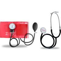Kit Esteto Simples Com Aparelho De Pressão Vermelho Premium