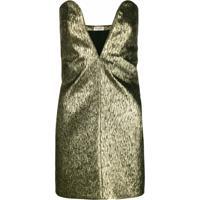 Saint Laurent Vestido Mini Com Textura - Metálico