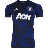 Camisa Pré-Jogo Manchester United 19/20 Adidas - Masculina - Azul Esc/Azul