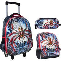 Kit Escolar Dark Spider Mochilete, Lancheira E Estojo