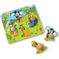 Quebra-Cabeça - Peças De Encaixe De Madeira - Disney - Mickey Mouse - New Toys