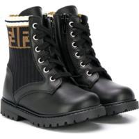 Fendi Kids Ff Cargo Boots - Preto