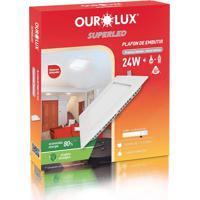Plafon Quadrado Embutir Branco (6400 K 24W)