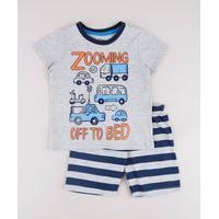 "Pijama Infantil Carros Zooming Off To Bed"" Manga Curta Cinza Mescla"""