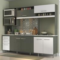 Cozinha Compacta 7 Portas E 2 Gavetas Sem Tampo Lara Gris Demolição/Branco - Soluzione Móveis