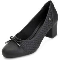 Sapato Salto Bloco Sense Flex An20-0947 Preto
