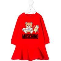 Moschino Kids Vestido Com Estampa De Logo - Vermelho