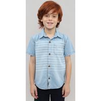 Camisa Jeans Infantil Com Listras E Bolso Manga Curta Azul Claro