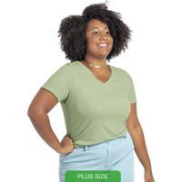 Blusa Canelada Básica Com Decote V Verde