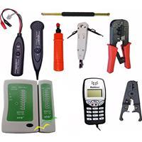 Kit De Ferramentas De Rede E Telefonia C/Zumbidor Spartec + Punch Down + Enroladeira + Badisco + Alicate De Crimpar + Decapador De Cabos + Testador De