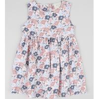 Vestido Infantil Estampado Floral Rosa Claro