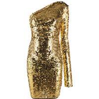 Versace Jeans Couture Vestido Ombro Único Com Paetês - Dourado