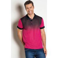 Camisa Polo Com Degradê Frontal Rosa E Preta