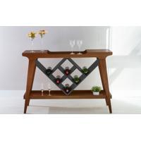 Aparador Bar Adega Gourmet Madeira Maciça Com Tampo Espelhado Pubi 130X33X90Cm - Verniz Capuccino E Grafite