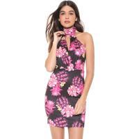 Vestido My Favorite Thing(S) Curto Floral Preto/Rosa