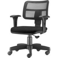 Cadeira Zip Tela Com Bracos Assento Courino Preto Base Rodizio Metalico Preto - 54469 - Sun House