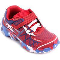 Tênis Infantil No Stress Running Velcro - Masculino-Vermelho+Azul