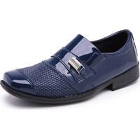Sapato Social Infantil Mr Shoes Verniz Azul