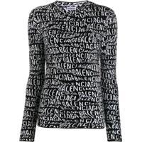Balenciaga Blusa Gola Careca De Tricô Com Logo - Preto