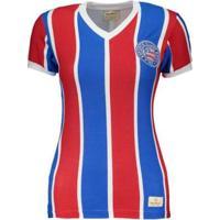 Camisa Retrômania Bahia 1988 Listrada Feminina - Feminino-Vermelho+Azul