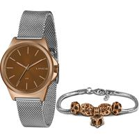 Kit Relógio Analógico Lince Feminino + Pulceira De Pingentes - Lrt4651L Kx56R3Sx Prateado