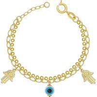 Pulseira Prata Mil Dupla Com 2 Mã£O De Fã¡Tima 1 Olho Grego Dourado - Dourado - Feminino - Dafiti