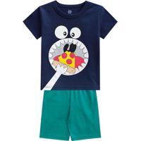 Pijama Monstro- Azul Marinho & Verde- Primeiros Passbrandili